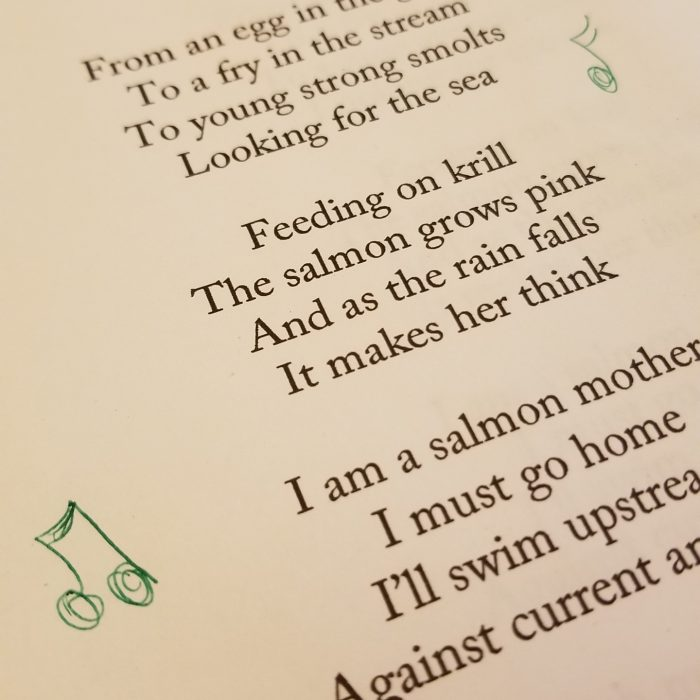 Preparing to sing salmon songs at Dusk'a Head Start Program